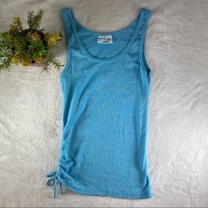 Michael Stars Tank Top Blue Shimmer Cinched Side